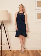 Beaded Neckline Tiered Dress, Blue