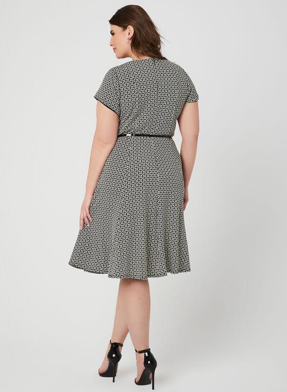 Textured Fit & Flare Dress, Black