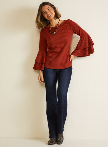 Double Ruffle Sleeve Top, Orange,  fall winter 2020, double ruffle, ribbed, scoop neck, long sleeve, bell sleeve, comfort, stretch, made in Canada, knit, top, blouse