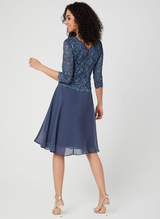 Robe à corsage en dentelle et jupe en mousseline, Bleu, hi-res