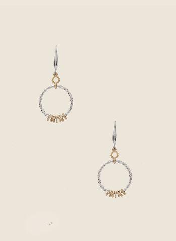 Twist Hoop Dangle Earrings, Yellow,  earrings, dangle, hoop, twist, metallic, two-tone, fall winter 2020
