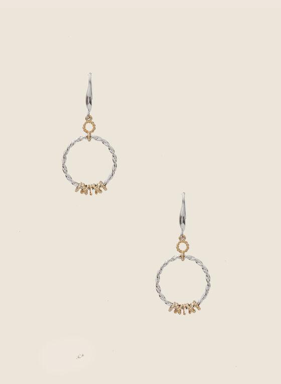 Twist Hoop Dangle Earrings, Yellow
