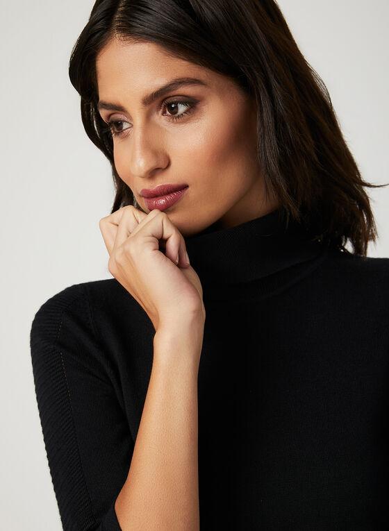 Pull en tricot ottoman à effet texturé, Noir, hi-res