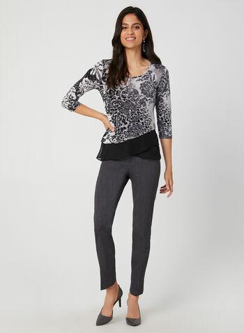 Asymmetric Mixed Print Jersey Top, Grey, hi-res,  leopard print blouse, floral print blouse