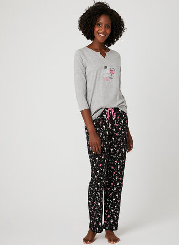 René Rofé – Wine Print Pyjama Set, Grey, hi-res