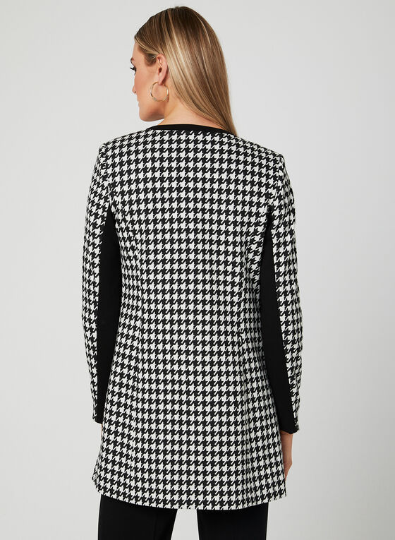 Houndstooth Print Open Front Jacket , Black, hi-res
