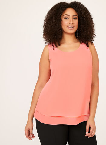 Sleeveless Double Layer Top, Orange, hi-res