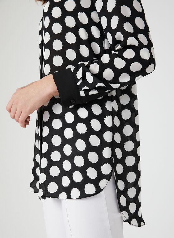 Polka Dot Print Blouse, Black, hi-res