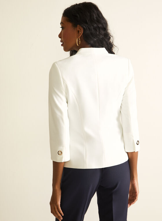 Grommet Detail Crepe Blazer, Off White