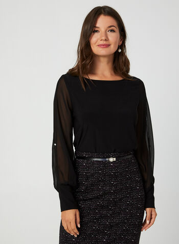 Chiffon Sleeve Top, Black,  Canada, top, long sleeves, chiffon sleeves, pearl, fall 2019, winter 2019