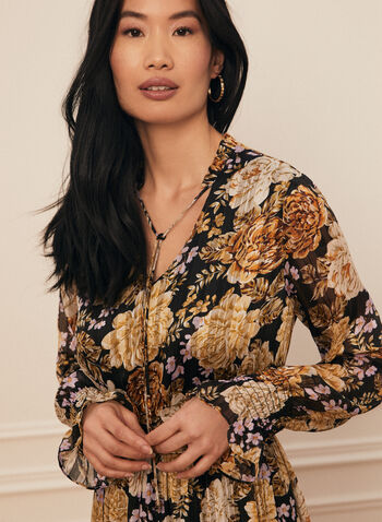 Floral Print V-Neck Dress, Black,  dress, day, v-neck, floral, shirred, long sleeves, pleated, chiffon, spring summer 2021