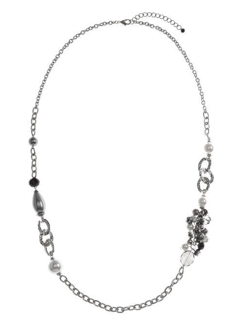 Collier avec anneaux martelés et perles, Blanc cassé, hi-res