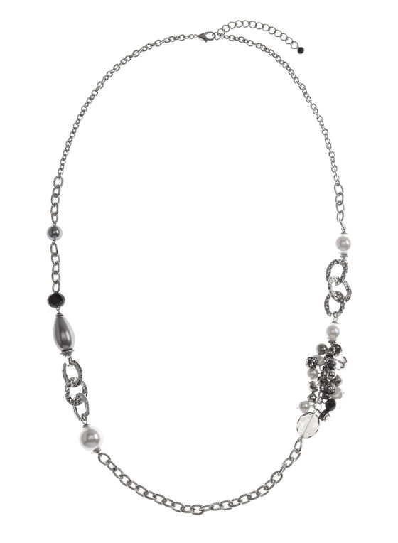 Mixed Bead Chain Necklace, Off White, hi-res