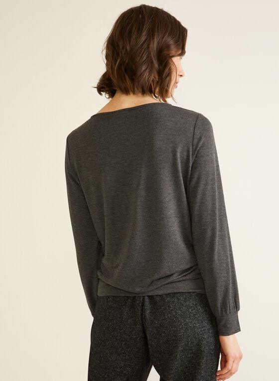 Long Sleeve Cutout Detail Top, Grey