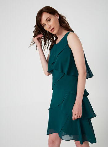 Layered Chiffon Dress, Green, hi-res,  chiffon, sleeveless, scoop neck, cocktail dress, dress, detailed, fall 2019, winter 2019