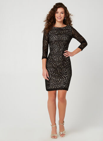Sequined Lace Cocktail Dress , Black, hi-res,  cocktail dress, sequin, lace, 3/4 sleeves, fall 2019, winter 2019