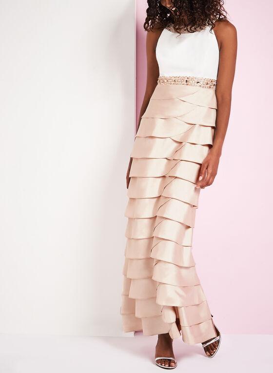 Robe de soirée à plis étagés et col Cléopâtre, Blanc, hi-res