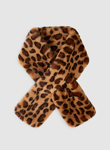 Écharpe léopard en fausse fourrure, Brun, hi-res,  écharpe, fausse fourrure, léopard, passant, automne hiver 2019