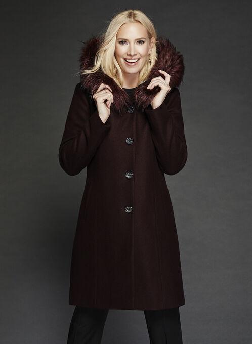 Hooded Wool Like Coat, Purple, hi-res