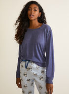 Cat Print Flannel Pyjama Set, Blue
