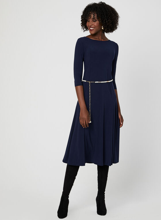 Nina Leonard – ¾ Sleeve Dress, Blue, hi-res