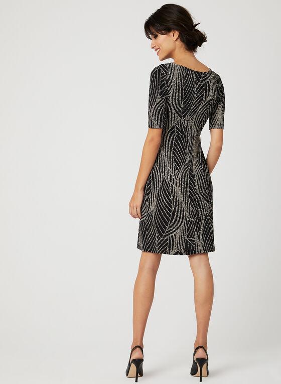 Robe fourreau motif abstrait à col asymétrique, Noir, hi-res