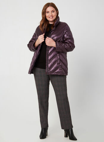 Quilted Down Jacket, Purple, hi-res,  down, coat, jacket, zipper, pockets, nylon, hood, quilted, metallic, long sleeves, feather, fall 2019, winter 2019