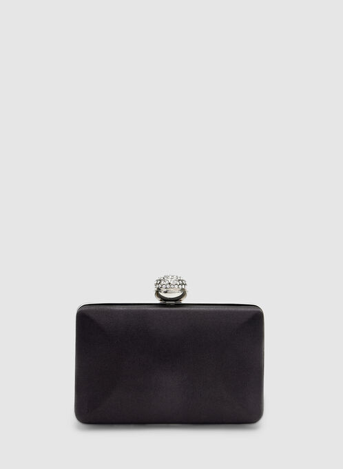 Satin Box Clutch, Black, hi-res