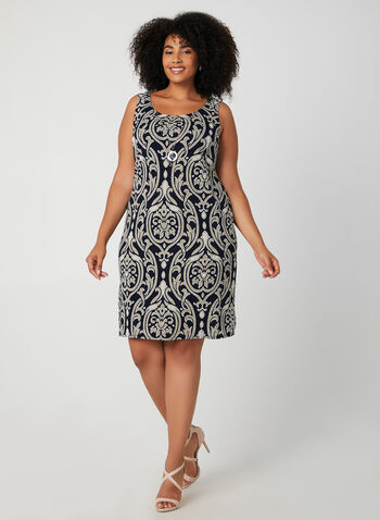 Dress & Cardigan Set, Blue, hi-res,  day dress, fall winter 2019, brocade print, jersey, long sleeve