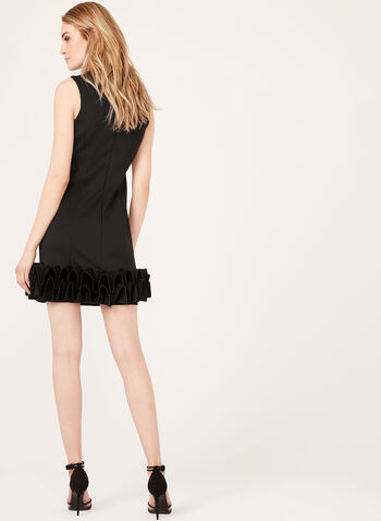 Sleeveless Ruffle Hem Dress, Black, hi-res