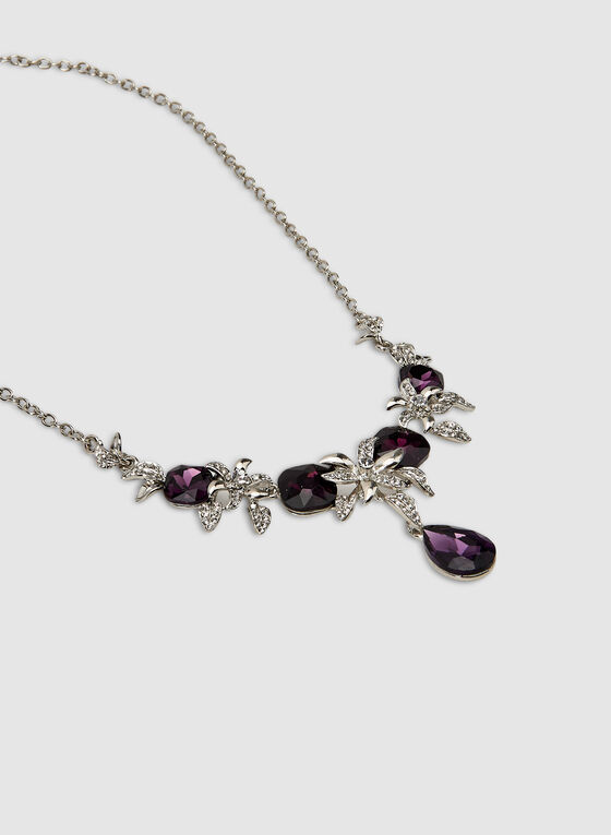 Facetted Teardrop and Crystal Necklace, Purple