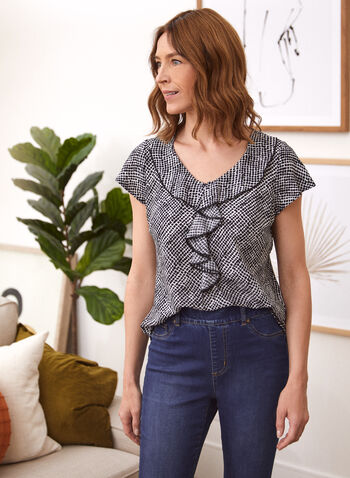 Ruffle Detail Top, White,  made in Canada, top, blouse, short sleeves, V-neck, ruffle, geometric print, fall winter 2021