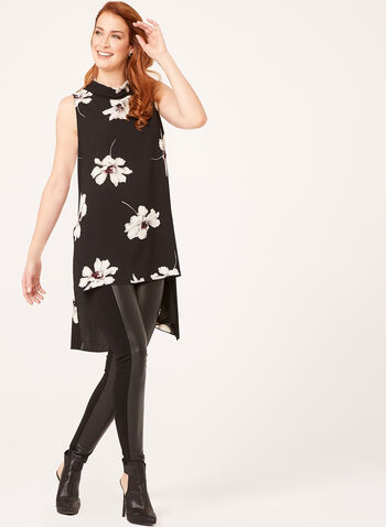 High Low Floral Print Tunic, Black, hi-res