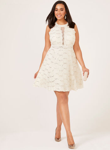 Fit & Flare Sequin Lace Dress, Off White, hi-res