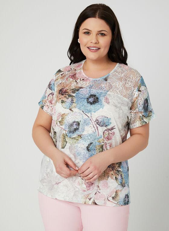 T-shirt fleuri à détails crochet et strass, Bleu, hi-res