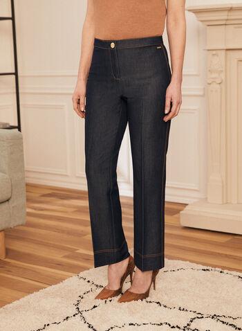 Pantalon coupe signature à jambe droite, Bleu,  pantalon, jambe droite, surpiqûres, taille haute, denim, printemps été 2021