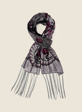 Floral Print Lightweight Scarf, Purple,  accessories, scarf, lightweight, floral, fringe, fall winter 2020