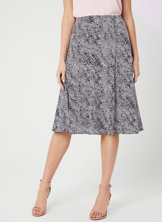 Leaf Print Gored Skirt, Blue, hi-res