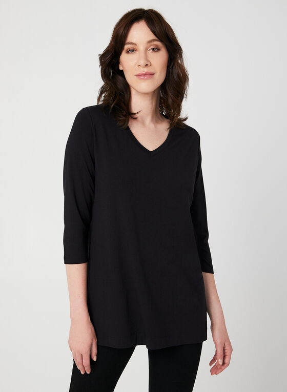 T-shirt basique à manches ¾, Noir, hi-res