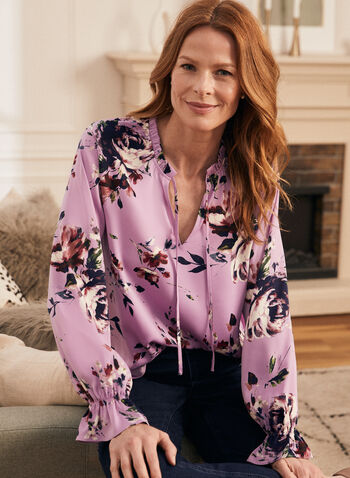 Floral Print Shirred Detail Blouse, Purple,  floral print, shirred detail, shirring, split neck, tie detail, front tie, long sleeves, light, flowy, blouse, top, spring summer 2021