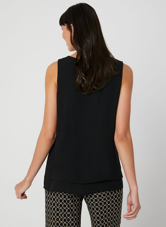 Sleeveless Crepe Top, Black
