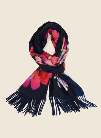 Floral Print Reversible Scarf, Blue,  scarf, floral, fringe, fall winter 2020