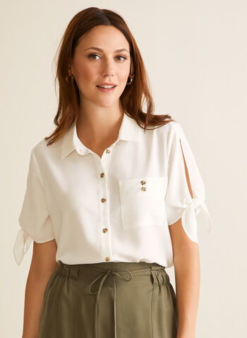 Short Sleeve Button Down Blouse, Off White,  blouse, shirt, crepe, pocket, knot, shirt collar, short sleeves, button down, spring summer 2020