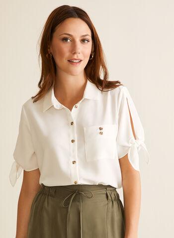 Chemisier boutonné à manches courtes, Blanc cassé,  blouse, chemisier, noeud, crêpe, poche, bouton, printemps été 2020