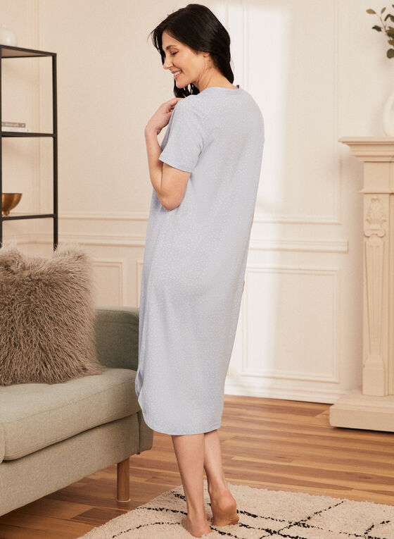 Dotted Print Nightgown, Blue