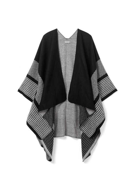 Stripe Print Poncho, Black, hi-res