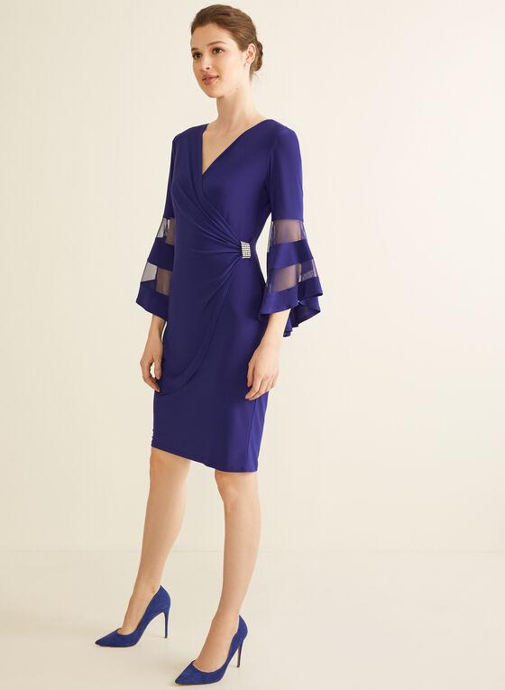 Jersey Wrap Side Dress, Blue