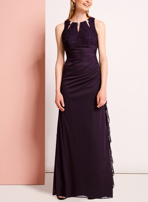 Embellished Sequined Lace Gown, Purple, hi-res