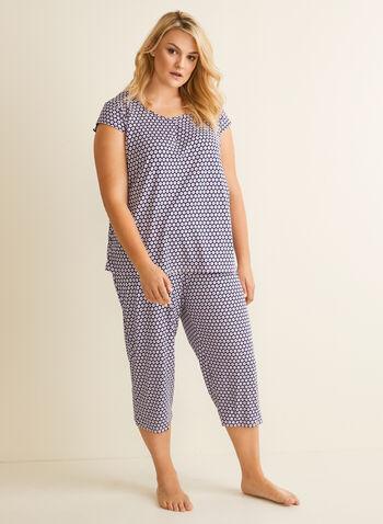 Hamilton - Geometric Motif Pyjama Set, Blue,  pyjamas, shirt, capris, geometric, circles, straight leg