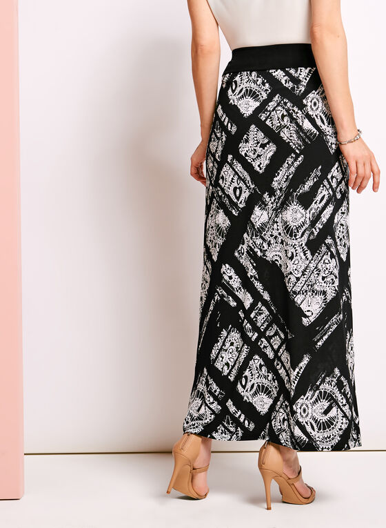 Paisley Print Maxi Skirt, Black, hi-res
